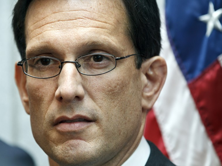 House Majority Leader Eric Cantor, R-Va., speaks to reporters following a weekly strategy session, at the Capitol in Washington. (AP Photo/J. Scott Applewhite)