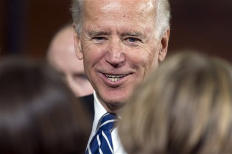Vice President Joe Biden meets with supporters during a campaign rally at Lakewood High School, Sunday, Nov. 4, 2012, in Lakewood, Ohio. (AP Photo/Matt Rourke)