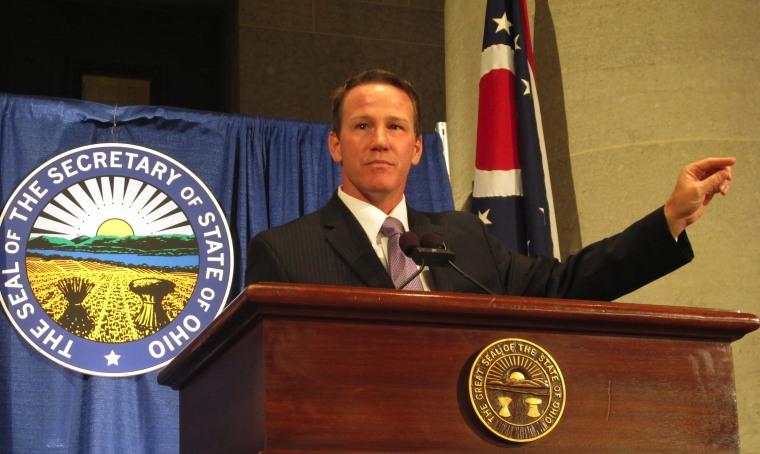 Ohio Secretary of State Jon Husted on Election Night, 2012. (AP Photo/Andrew Welsh-Huggins)