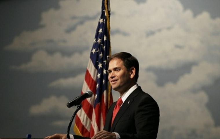 U.S. Sen. Marco Rubio, R-Fla., speaks during Iowa Gov. Terry Branstad's annual birthday fundraiser, Saturday, Nov. 17, 2012, in Altoona, Iowa. (AP Photo/Charlie Neibergall)