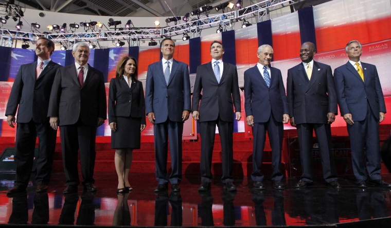 FILE - In this Sept. 7, 2011, file photo Republican presidential candidates stand together before a Republican presidential candidate debate.  (AP Photo/Chris Carlson, File)