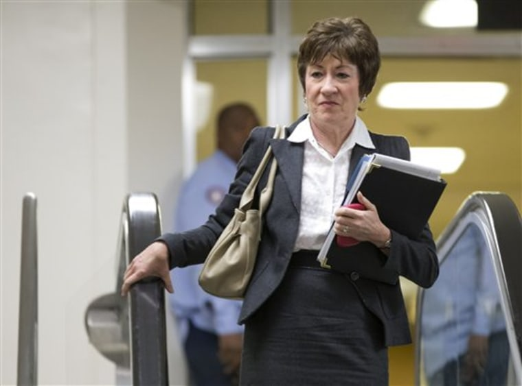 Sen. Susan Collins, R-Maine, ranking Republican on the Senate Homeland Security and Governmental Affairs Committee walks to a meeting on Capitol Hill in Washington, Wednesday, Nov. 28, 2012, for a meeting with UN Ambassador Susan Rice.  (AP Photo/ Evan...