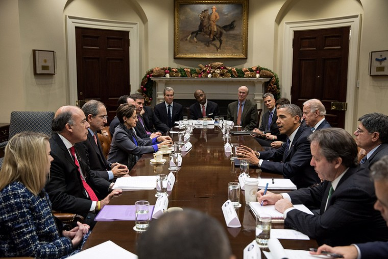 President Barack Obama and Vice President Joe Biden meet with business leaders to discuss the fiscal cliff in the White House, Nov. 28, 2012. (Official White House Photo by Pete Souza)
