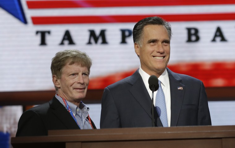 Republican presidential candidate and former Massachusetts Gov. Mitt Romney talks with campaign strategist Stuart Stevens during a podium check at  the Republican National Convention in Tampa, Fla., on Thursday, Aug. 30, 2012. (AP Photo/Charles Dharapak)