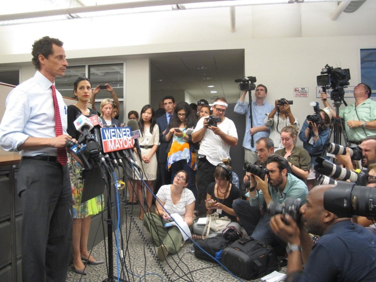 NYC mayoral candidate and former congressman Anthony Weiner speaks to reporters during a press conference this afternoon.