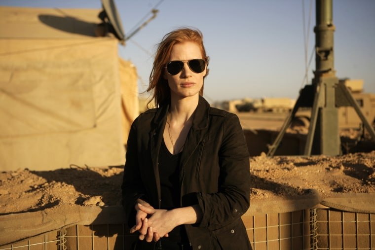"""This undated publicity film image provided by Columbia Pictures shows Jessica Chastain in a scene from """"Zero Dark Thirty."""" (AP Photo/Sony - Columbia Pictures, Jonathan Olley)"""