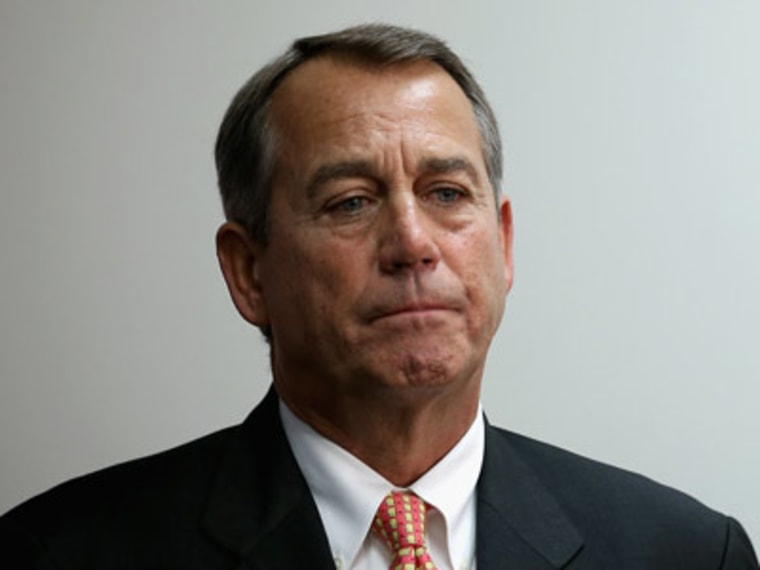 Speaker of the House John Boehner talks with reporters after the weekly House GOP caucus meeting at the U.S. Capitol on Wednesday in Washington, D.C. (Photo by Chip Somodevilla/Getty Images)