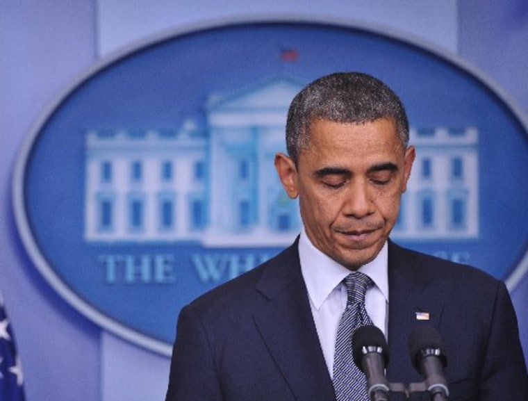 US President Barack Obama speaks following the shooting in Sandy Hook Elementary School in Connecticut, which left at least 26 people dead, 18 of them children. (Photo By: Mandel/Getty Images)