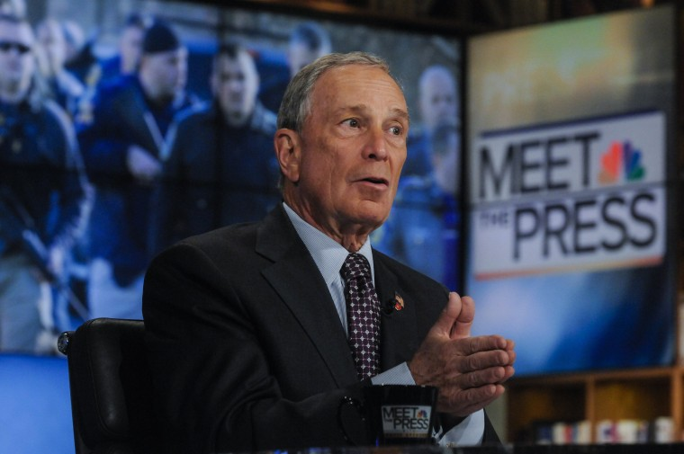 """New York City Mayor Michael Bloomberg appears in a pre-taped interview on \""""Meet the Press\"""" in Washington.(Photo by William B.Plowman/REUTERS)"""