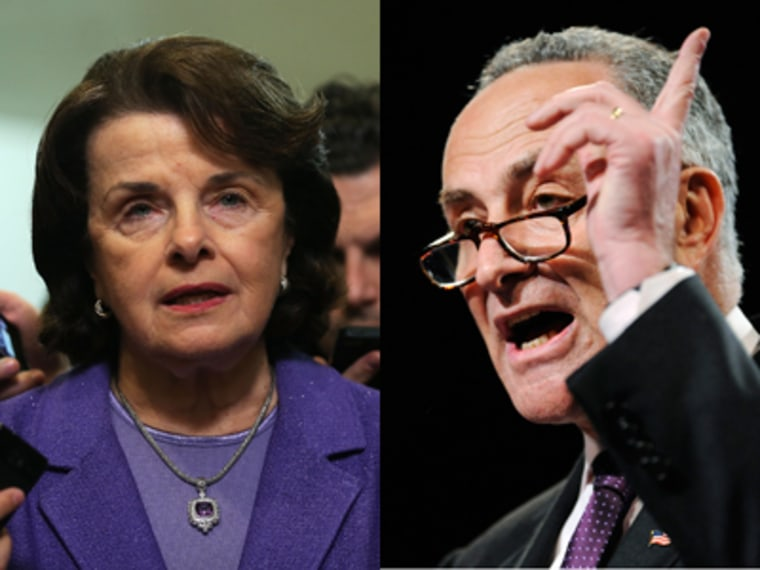 Sens. Dianne Feinstein, D-Calif., and Chuck Schumer, D-N.Y., say they plan to introduce new gun legislation banning assault weapons. (Photo by Alex Wong/Getty;Jonathan Ernst/REUTERS)
