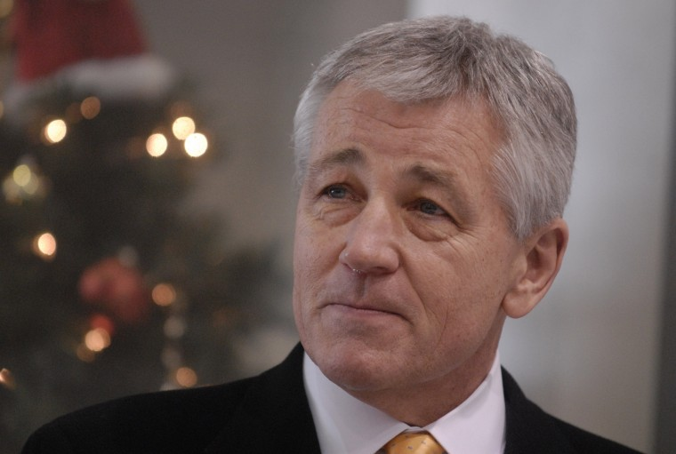 Outgoing U.S. Sen. Chuck Hagel talks to supporters Thursday Dec 18, 2008 during a farewell news conference in Omaha, Neb.(AP Photo/Dave Weaver)