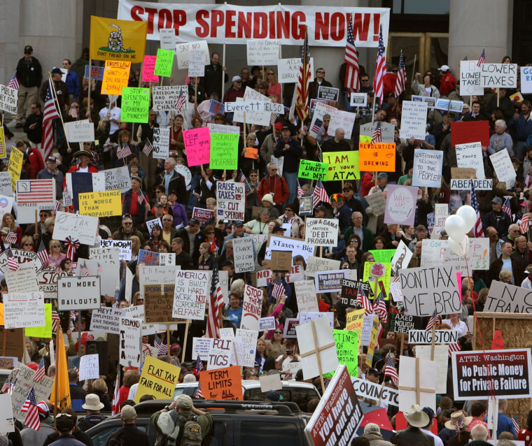 An estimated crowd of over 5,000 jammed the steps of the Capitol April 15th to protest taxation at the state and federal levels.Steve Bloom/The Olympian