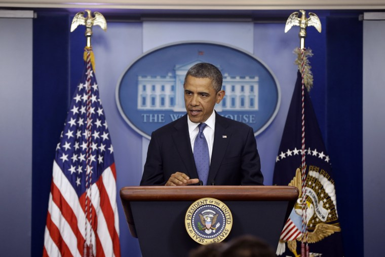 President Barack Obama speaks to reporters in the Brady Press Briefing Room at the White House in Washington after meeting with Congressional leaders regarding the fiscal cliff, Friday, Dec. 28, 2012. (Photo by Charles Dharapak/AP)