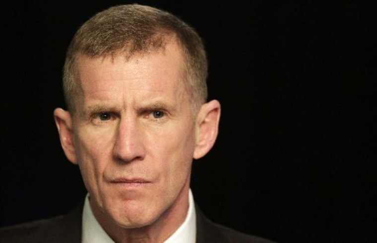 Retired Gen. Stanley McChrystal in January, while speaking with reporters. (AP Photo/Mark Lennihan)