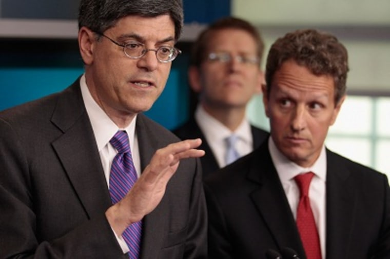 Office of Management and Budget Director Jacob Lew, White House Press Secretary Jay Carney and Treasury Secretary Timothy Geithner answer reporters' questions about President Obama's proposed federal deficit reduction plan at the White House September...