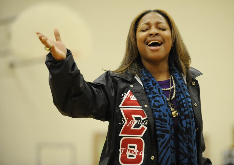 Erika Thomas with the Clark Atlanta University Delta Sigma Theta step team performs at the Sprite Step Off Service Challenge at Park Forest Middle School Saturday January 16, 2010 in Baton Rouge, LA. (Liz Condo / AP Images for Sprite)