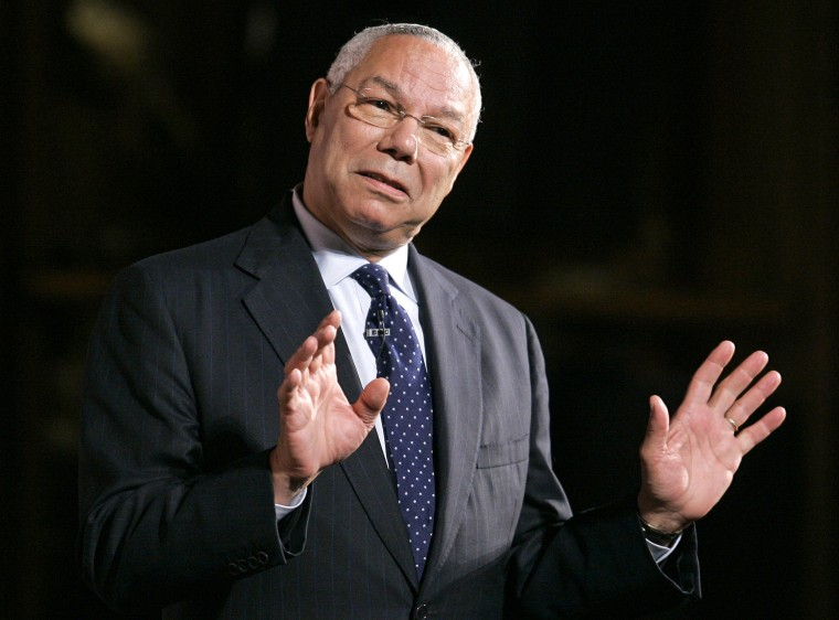 Former Secretary of State Colin Powell speaks in Providence, R.I.,  (Photo by Steven Senne/AP File)