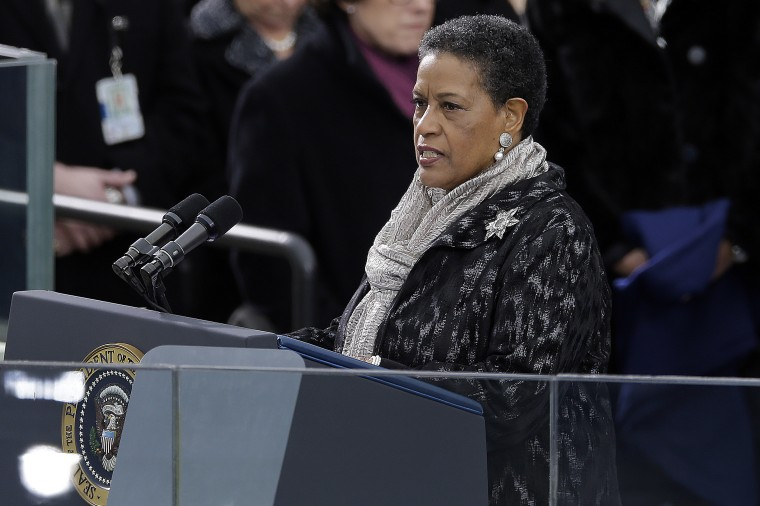 Myrlie Evers-Williams delivers the invocation at the ceremonial swearing-in for President Barack Obama at the U.S. Capitol during the 57th Presidential Inauguration in Washington, Monday, Jan. 21, 2013. (AP Photo/Carolyn Kaster)