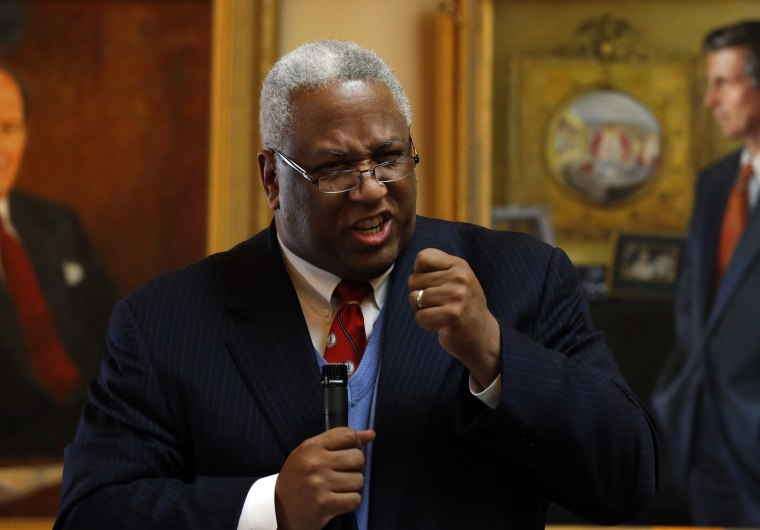 """Sen. A. Donald McEachin, D-Henrico, angrily accused the Republican members of the Senate of """"plantation politics""""  Tuesday Jan. 22, 2013 in Richmond, Va., regarding the vote Monday on a redistricting plan passed in the Senate in Richmond. (AP Photo..."""