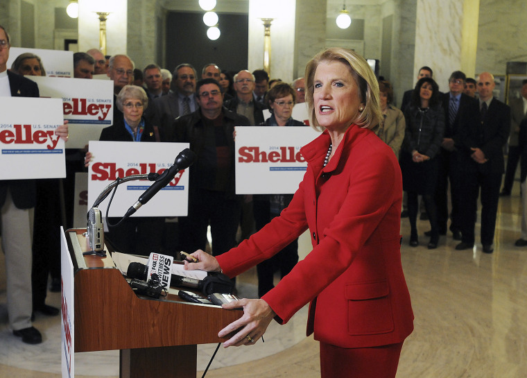 US Congresswoman Shelley Moore Capito makes her formal announcement to run for Senate in 2014 duroing a press conference at the Capitol in Charleston, W.Va., Monday Nov. 27, 2012.  (AP Photo/The Charleston Gazette, Chip Ellis)