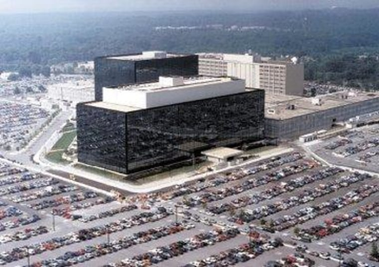 An undated U.S. government photo shows an aerial view of the NSA building in Fort Meade, Maryland.