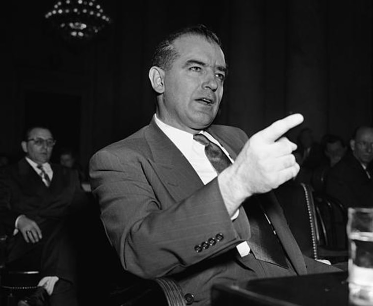 """Sen. Joseph McCarthy's (R-Wis) at a March 9, 1950 session of a hearing on  McCarthy's charges of Communist infiltration in the state department. McCarthy, testifying before a senate foreign relations subcommittee, termed the subcommittee a \""""Tool\"""" of..."""