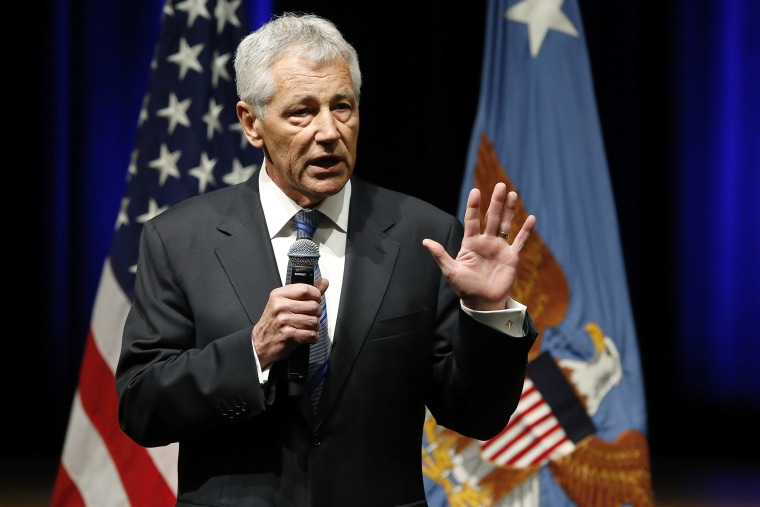 Secretary of Defense Chuck Hagel speaks to service members and civilian employees on his first day in his new post after being sworn in, at the Pentagon on February 27, 2013. (Photo by Jonathan Ernst/Reuters)