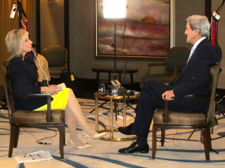Andrea Mitchell interviews Secretary of State John Kerry in Doha, Qatar. March 5, 2013. (Photo: Catherine Chomiak/NBC News)