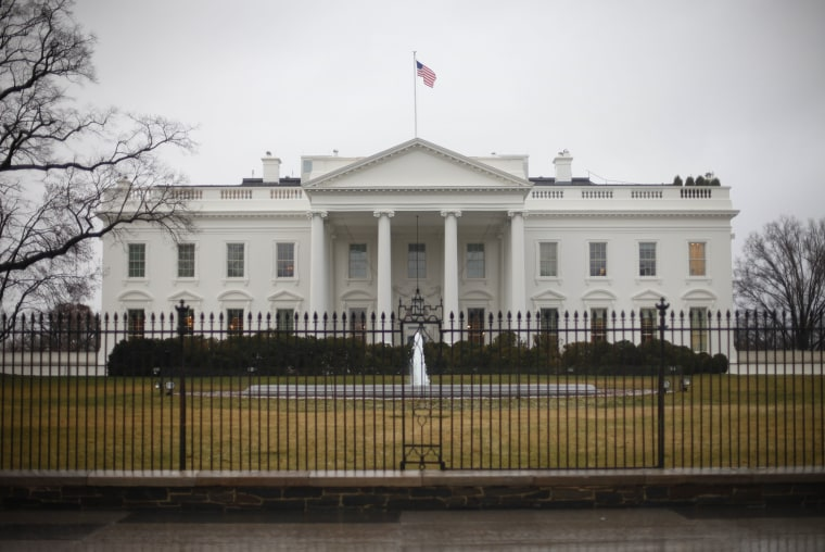 The White House in Washington is seen on Wednesday, March 6, 2013. Area schools and many government offices in the Washington area are closed for the in anticipation of the snow that could blanket the region. (AP Photo/Pablo Martinez Monsivais)