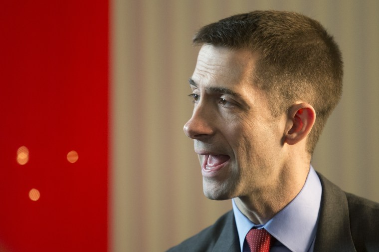 Rep. Tom Cotton, R-Ark., attends the 40th annual Conservative Political Action Conference in National Harbor, Md., Thursday, March 14, 2013.  (AP Photo/Manuel Balce Ceneta)