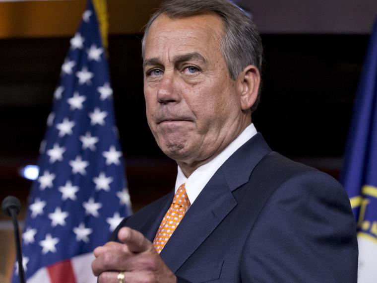 Speaker John Boehner gestures as he speaks to reporters, on Capitol Hill in Washington. (AP Photo/J. Scott Applewhite)