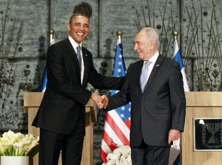 U.S. President Barack Obama (L) poses for a picture with Israel's President Shimon Peres following remarks at Peres' residence in Jerusalem March 20, 2013. Making his first official visit to Israel, Obama pledged on Wednesday unwavering commitment to...