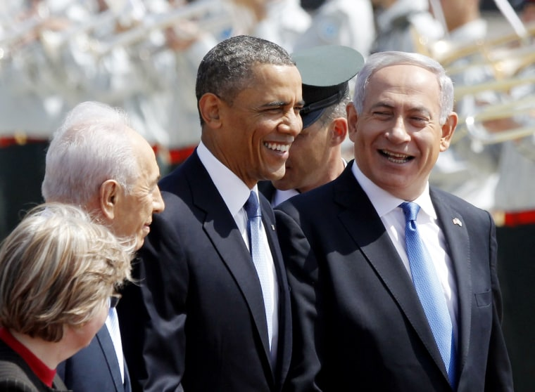 U.S. President Barack Obama walks with Israeli Prime Minister Benjamin Netanyahu (R) and President Shimon Peres upon his arrival at Ben Gurion International Airport in Tel Aviv March 20, 2013. Obama said at the start of his first official visit to...