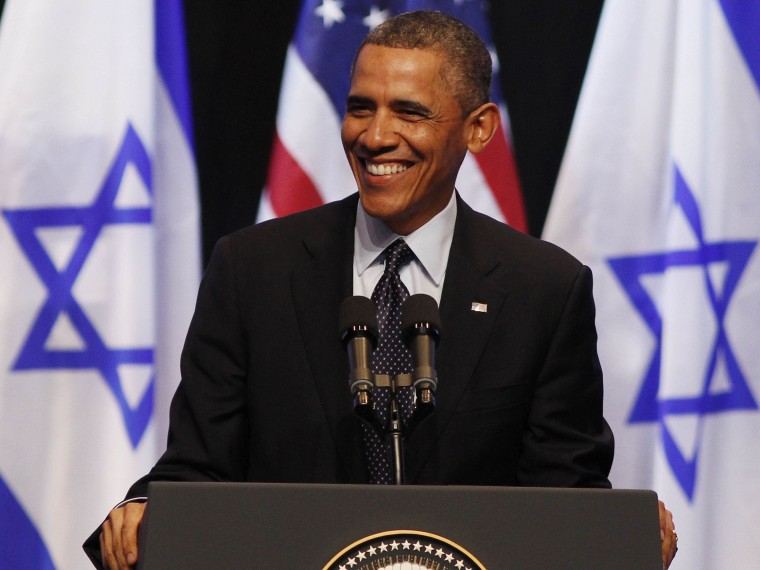 U.S. President Barack Obama smiles while he addresses students at the Jerusalem Convention Center in Jerusalem, March 21, 2013. Obama, delivering a keynote speech to Israeli students, said on Thursday that continued settlement activity was ...