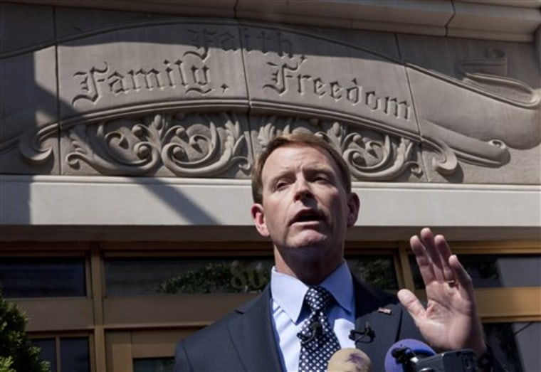 Family Research Council President Tony Perkins gestures during a news conference to discuss Wednesday's shooting, Thursday, Aug. 16, 2012, in Washington. (AP Photo/J. Scott Applewhite)
