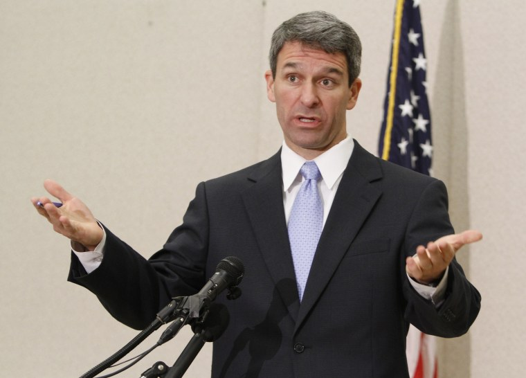 Virginia Attorney General Ken Cuccinelli gestures during a press conference in Richmond on May 10, 2011.  (File photo by Steve Helber/AP)