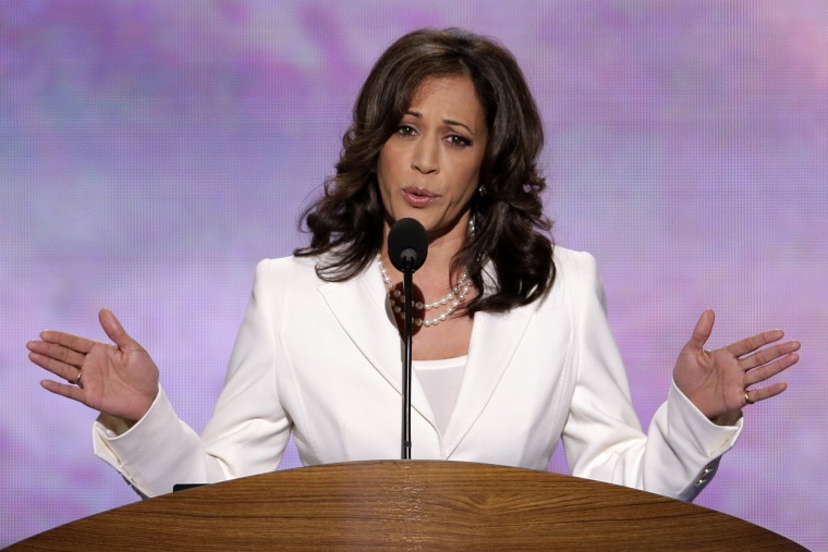 California Attorney General Kamala D. Harris addresses the Democratic National Convention in Charlotte, N.C., on Wednesday, Sept. 5, 2012. President Obama, under criticism, apologized last week for commenting on Harris' physical appearance. (AP Photo/J...
