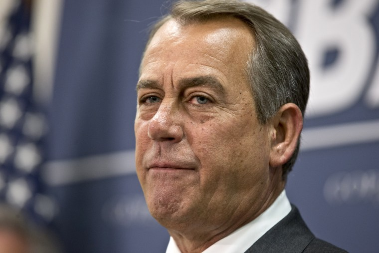 House Speaker John Boehner of Ohio meets with reporters on Capitol Hill in Washington, Wednesday, April 10, 2013, following a Republican strategy session, and the release of President Barack Obama's proposed fiscal 2014 federal budget.  (AP Photo/J....