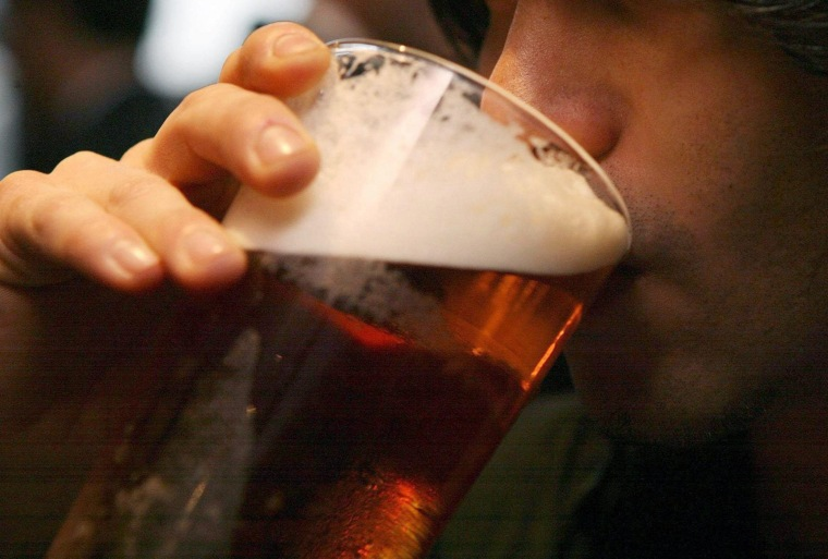 Beer sales.File photo dated 01/12/06 of a man drinking a pint of beer as beer sales fell by 3.8% in the first quarter of 2011 compared with the same period in 2010, according to figures published today by the British Beer and Pub Association. Issue...