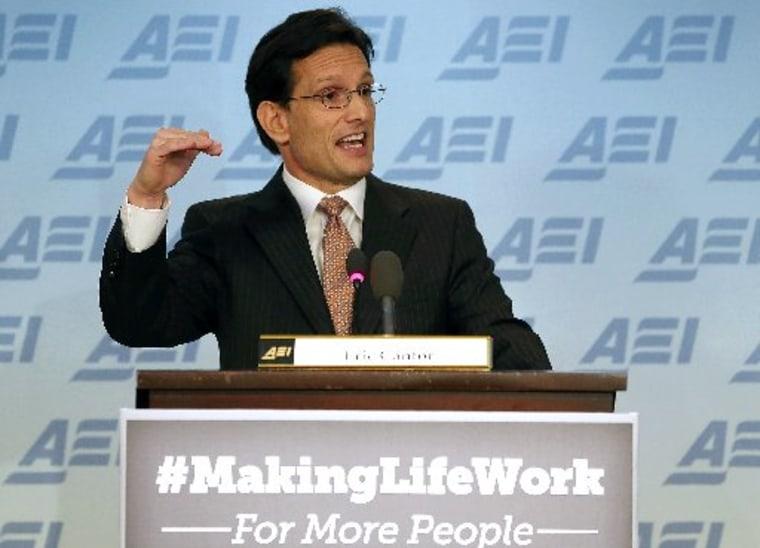 House Majority Leader Eric Cantor (R-VA) speaks at the American Enterprise Institute, on February 5, 2013 in Washington, DC. (Photo by Mark Wilson/Getty Images)