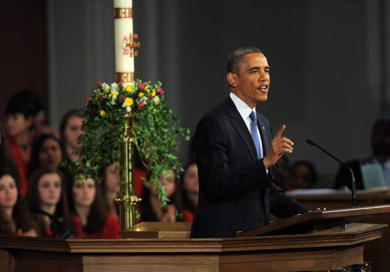 "US President Barack Obama speaks during the ""Healing Our City: An Interfaith Service"" dedicated to those who were gravely wounded or killed in the Boston Marathon bombing, at the Cathedral of the Holy Cross in Boston, Massachusetts, on April 18, 2013...."
