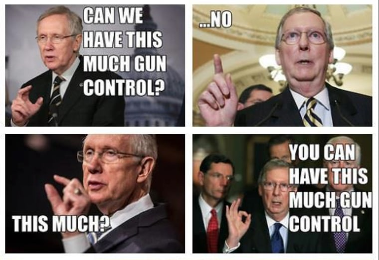 Mitch McConnell's Facebook meme in response to the gun control vote.
