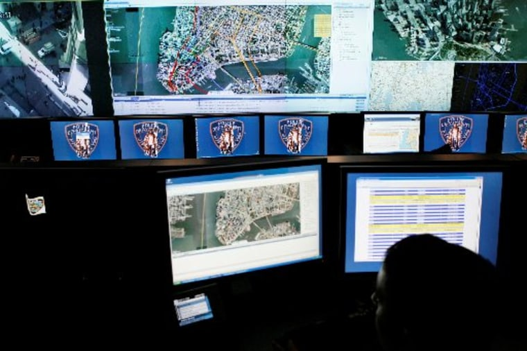 Maps of lower Manhattan and camera views are displayed at the command center of the Lower Manhattan Security Initiative in New York, Monday, Nov. 17, 2008. (AP Photo/Seth Wenig)