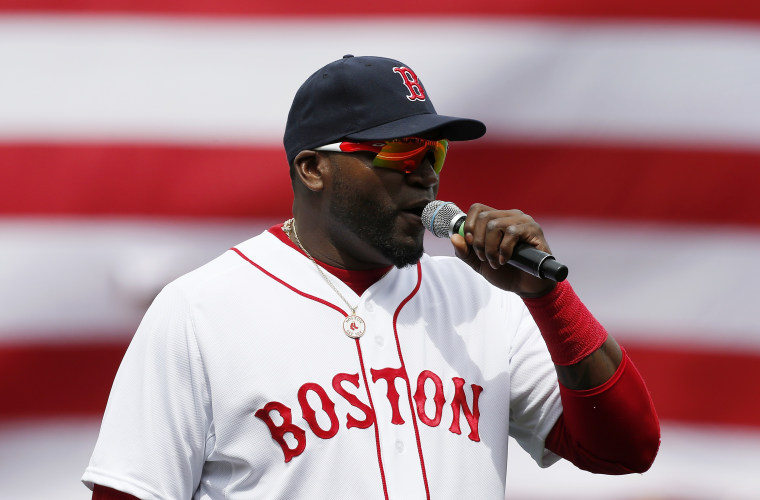 Boston Red Sox's David Ortiz speaks to the crowd before a baseball against the Kansas City Royals in Boston, Saturday, April 20, 2013. (AP Photo/Michael Dwyer)