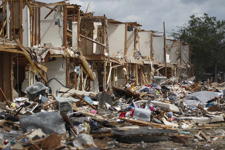 A housing complex, destroyed by a deadly fertilizer plant explosion, is pictured in the town of West, near Waco, Texas, April 21, 2013. (Photo by Michael Ainsworth/REUTERS/Pool)