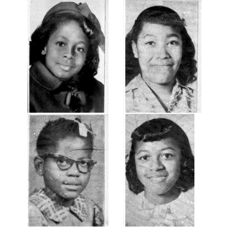 Clockwise from top left: Denise McNair, 11; Carole Robertson, 14; Addie Mae Collins, 14;  and Cynthia Wesley, 14. A former Ku Klux Klansman, Thomas Blanton Jr., 62,  was convicted of murder Tuesday, May 1, 2001, for the Sixteenth Street Baptist Church...
