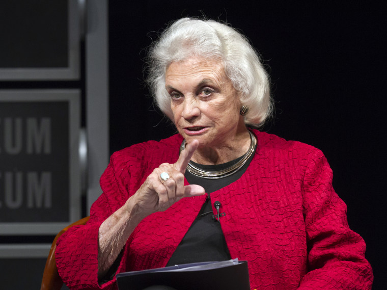 FILE- In this April 11, 2012 file photo, former Supreme Court Justice Sandra Day O'Connor speaks during a forum to celebrate the 30th anniversary of O'Connor's appointment to the Supreme Court, at the Newseum in Washington. (AP Photo Manuel Balce...