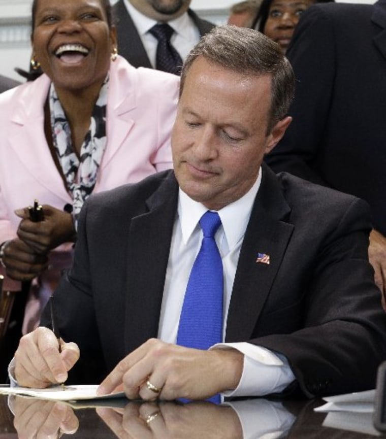Maryland Gov. Martin O'Malley signs a bill abolishing capital punishment in the state during a ceremony in Annapolis, Md., Thursday, May 2, 2013. Maryland is the first state south of the Mason-Dixon Line to repeal the death penalty. (AP Photo/Patrick...