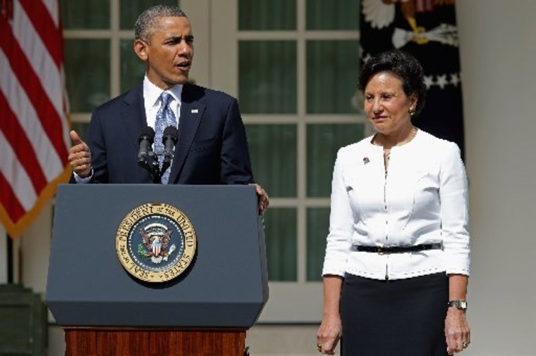 President Barack Obama announces that he will nominate Chicago business executive Penny Pritzker (R) for Commerce Secretary in the Rose Garden at the White House May 2, 2013 in Washington, DC. (Photo by Chip Somodevilla/Getty Images)
