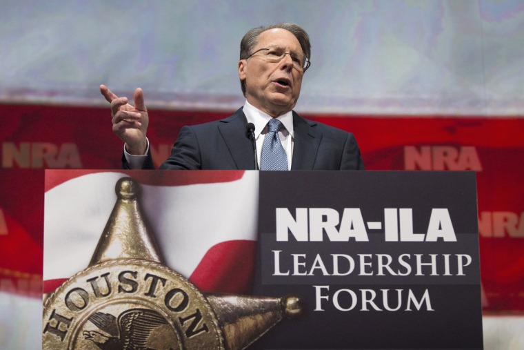Wayne LaPierre, Executive Vice President and CEO of the NRA, speaks at the NRA-ILA Leadership Forum at the George R. Brown Convention Center, the site for the National Rifle Association's annual meeting in Houston, Texas May 3, 2013. It is time to stop...